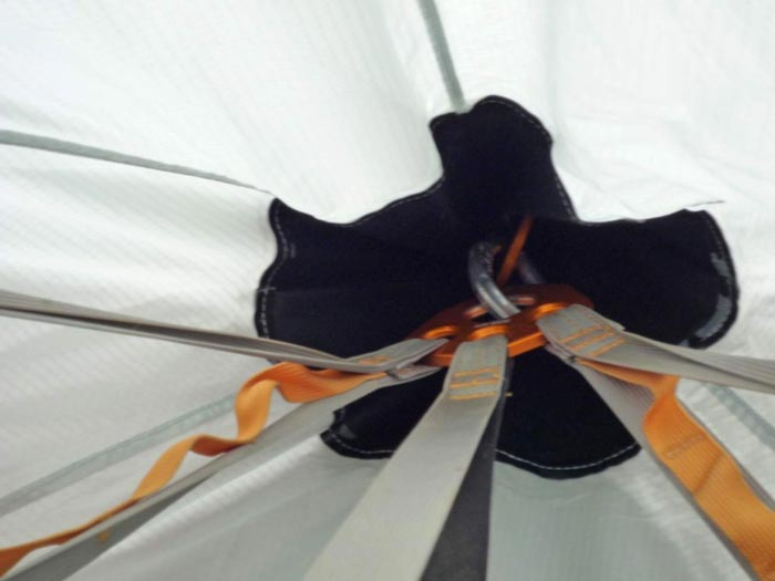 Interior view of the roof in the Black Diamond Deluxe Cliff Cabana Fly