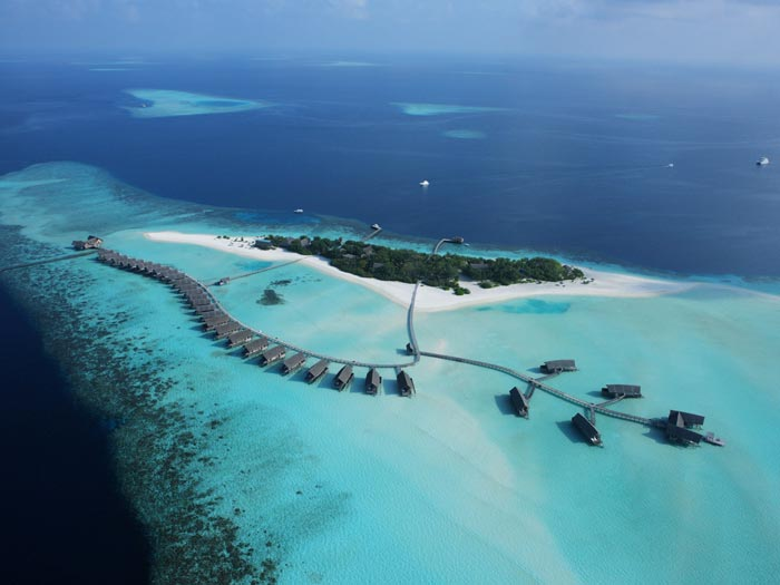 Aerial view of Cocoa Island Resort in The Maldives by COMO Group