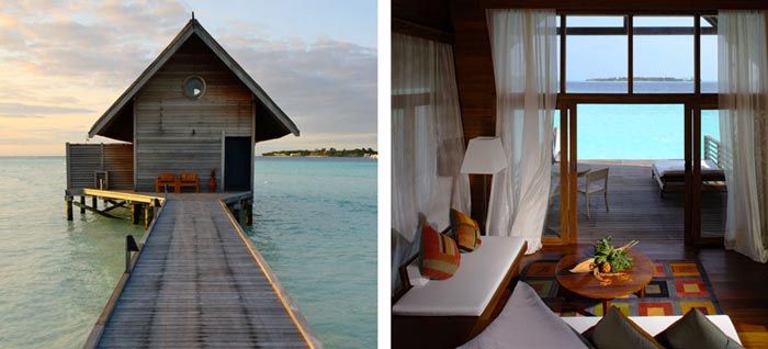 Water bungalow design at Cocoa Island Resort in The Maldives