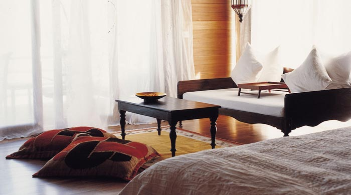 Interior design of a room at Cocoa Island Resort in The Maldives