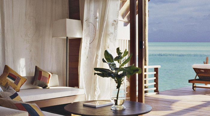 View of the sea from the bungalow at Cocoa Island Resort in The Maldives
