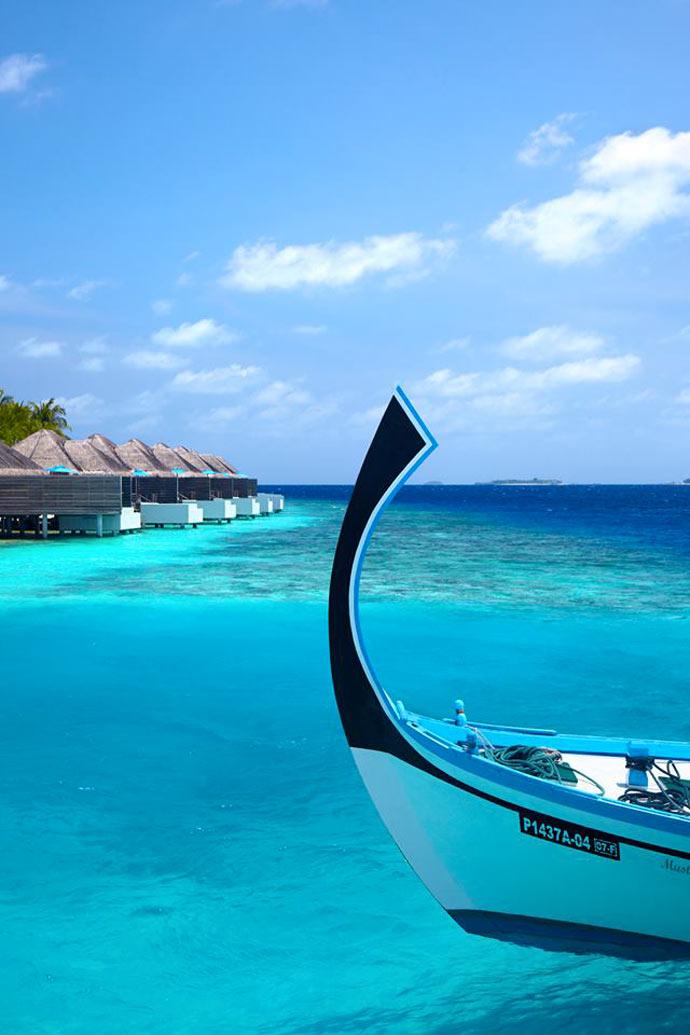 Docked boat in the Maldives