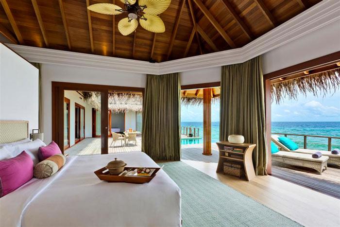 Bedroom decor at Dusit Thani Maldives Resort in Baa Atoll