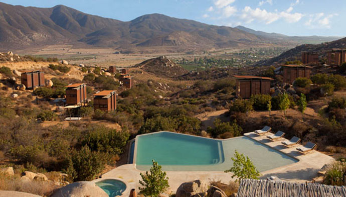 Swimming pool with a view at ENCUENTRO GUADALUPE ANTIRESORT IN BAJA CALIFORNIA