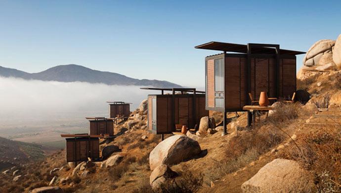 Architecture of the cabin rooms at Endemico Resguardo Silvestre Hotel in Baja California