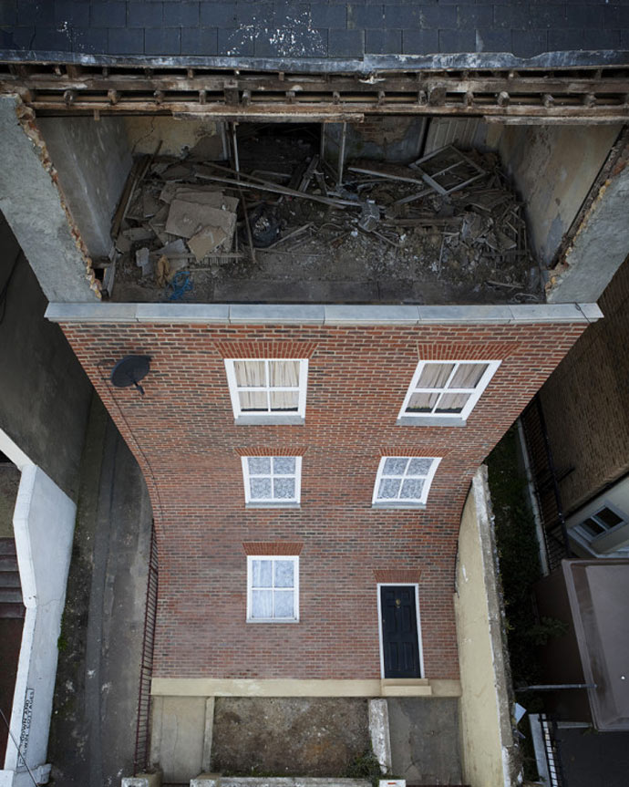 "View from the top of the ""From the Knees of My Nose to the Belly of My Toes"" by Alex Chinneck"