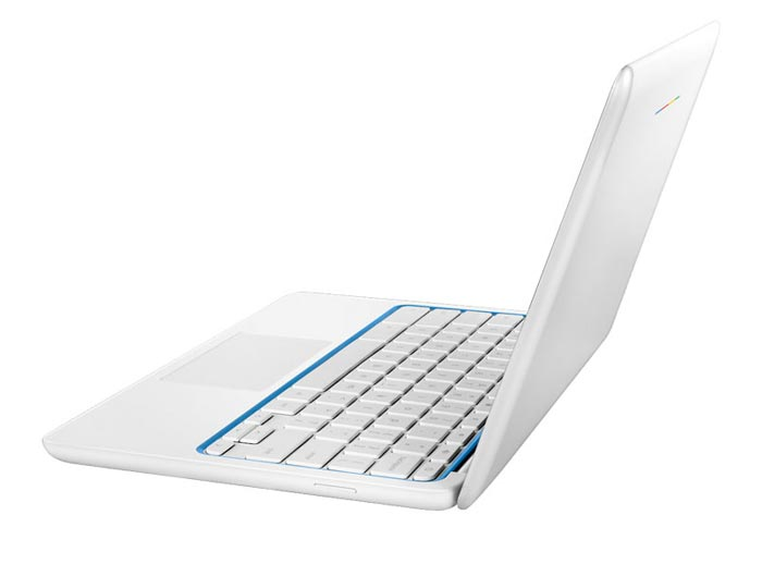 Side view of the screen and keyboard on the HP Chromebook 11