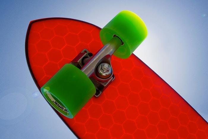 Red Hydroflex Skateboard with green wheels