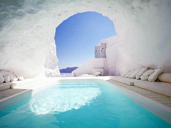 Pool in a cave at Katikies Hotel in Santorini