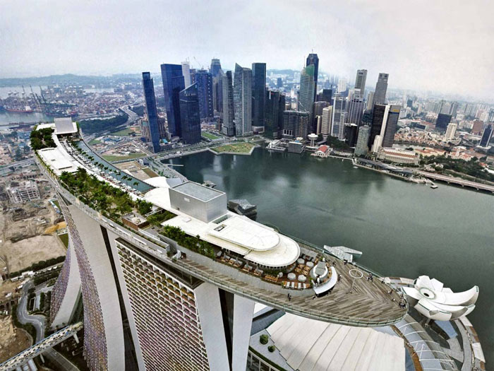 Aerial view of Marina Bay Sands Hotel in Singapore and downtown Singapore