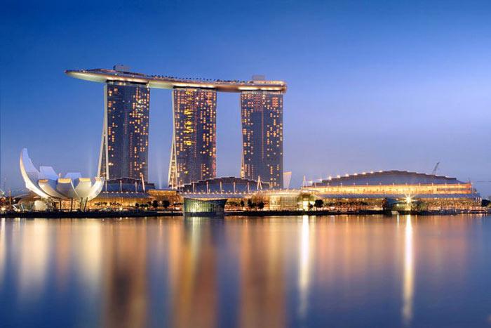 Marina Bay Sands Hotel in Singapore during sunrise