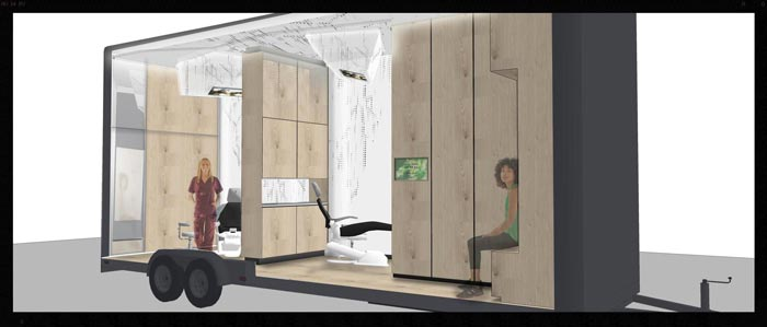 Waiting room and dentist space in a Mobile Dental Office by Studio Dental