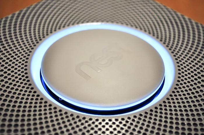 Light shining on the Nest Protect - A Smoke Alarm and Carbon Monoxide Detector