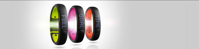 Green, purple and orange Nike+ Fuelband SE