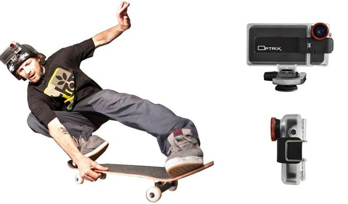 Skateboarder using the Optrix XD5 Waterproof Action Camera iPhone Case on his helmet