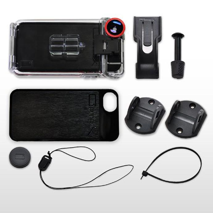 Accessories included with the Optrix XD5 Waterproof Action Camera iPhone Case