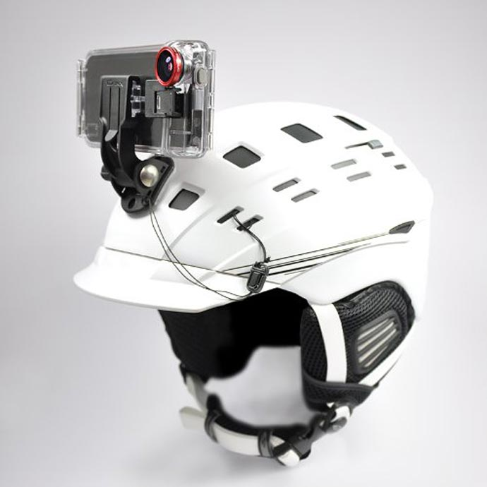 Optrix XD5 Waterproof Action Camera iPhone Case attached to a helmet