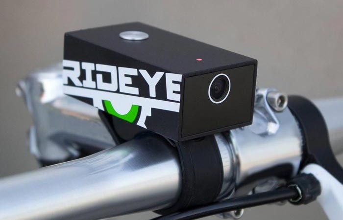 Rideye Camera attached to a handlebar of a bicycle