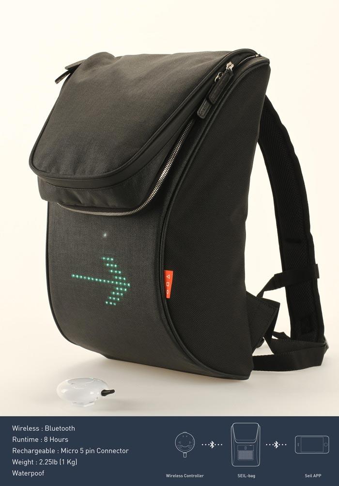 SEIL Bag - An LED Backpack for Cyclists