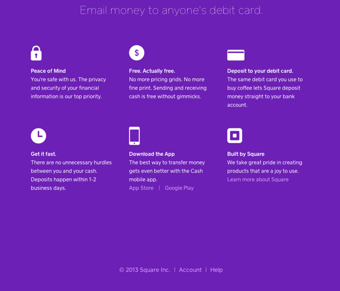 Features and details of Square Cash - Free money sending and receiving service