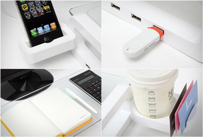 Features of the UBoard Smart USB Multiboard Desk Organizer
