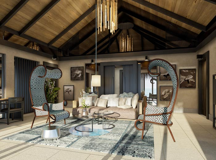 Interior design of a room at Velaa Private Island Resort in The Maldives