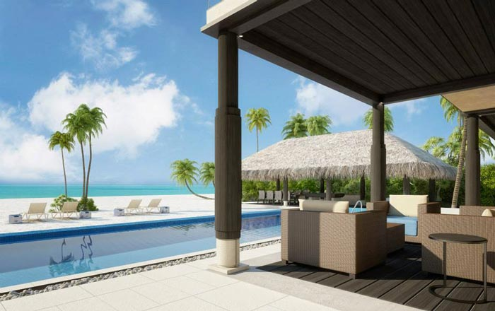 Swimming pool and view of the sea at Velaa Private Island Resort in The Maldives