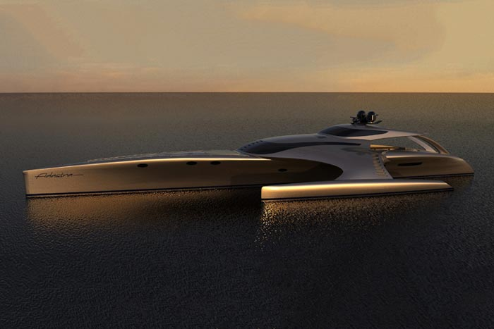 Side view of the Adastra Superyacht