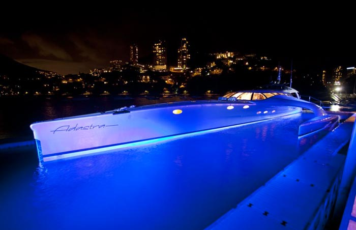 Adastra Superyacht at night blue LED