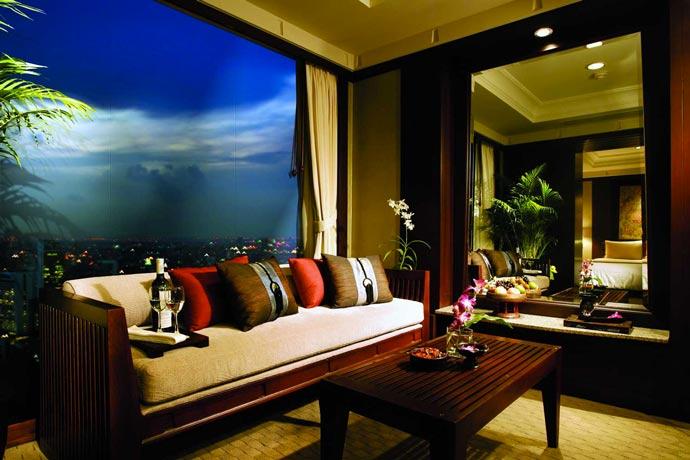 Interior design of a room at Banyan Tree Hotel in Bangkok