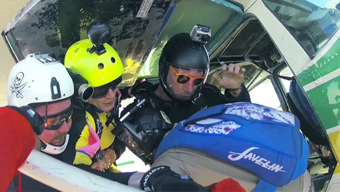 BUBL CAM 360º CAMERA mounted on a helmet during skydiving