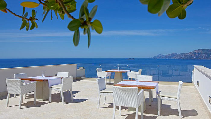 Patio terrace at Casa Angelina on the Amalfi Coast