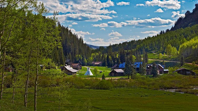 Dunton Hot Springs Resort in Colorado during summer