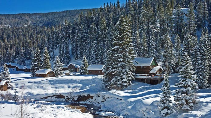 Dunton Hot Springs Resort in Colorado during winter