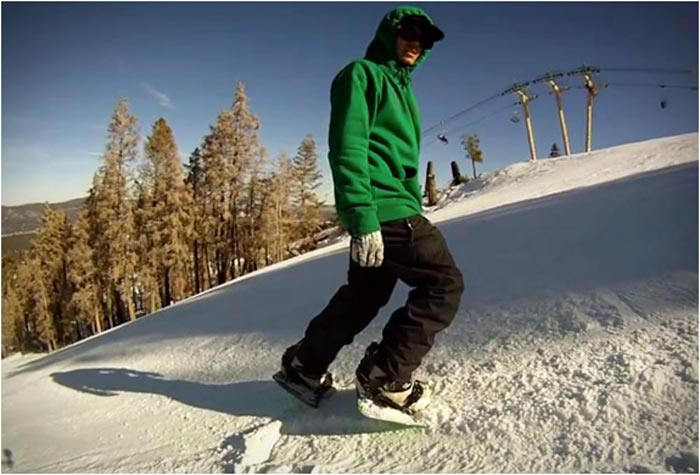 Dual Snowboards in action