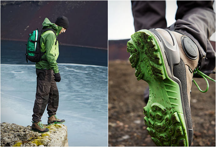 ECCO BIOM TERRAIN HIKING BOOTS BEING USED OUTDOORS