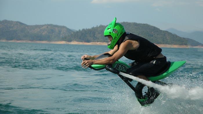 Man using the Jetovator Flying Water-Propelled Bike