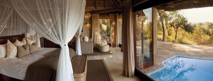 Interior decor of a bedroom at Leopard Hills