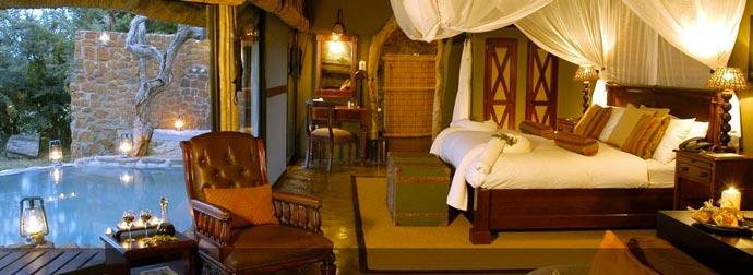 Interior design of a bedroom at Leopard Hills