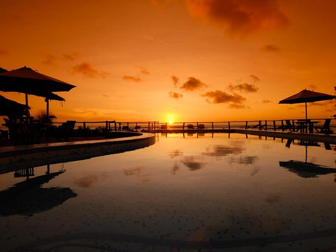 Sunset and a view of the Indian Ocean from Manta Resort in Zanzibar