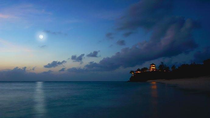 Necker Island at night