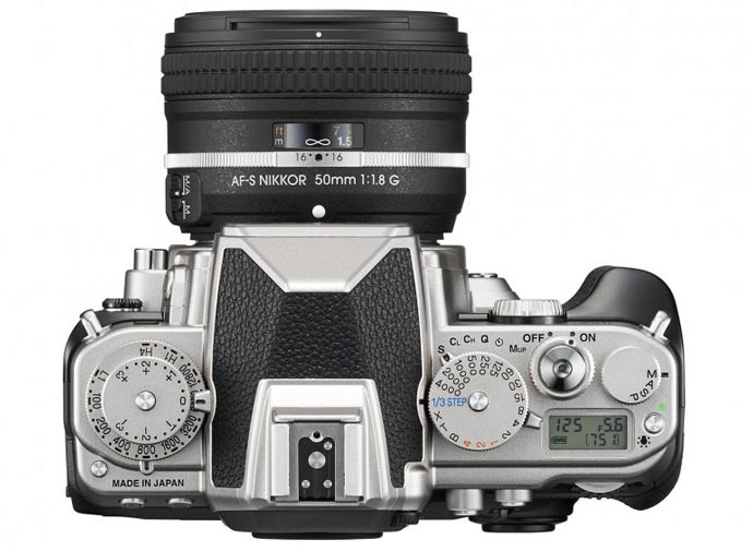 View from the top buttons and control dials of the Nikon Df FX-Format DSLR Camera