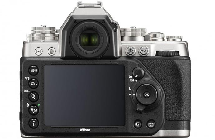 LCD screen of the Silver Nikon Df DSLR Camera