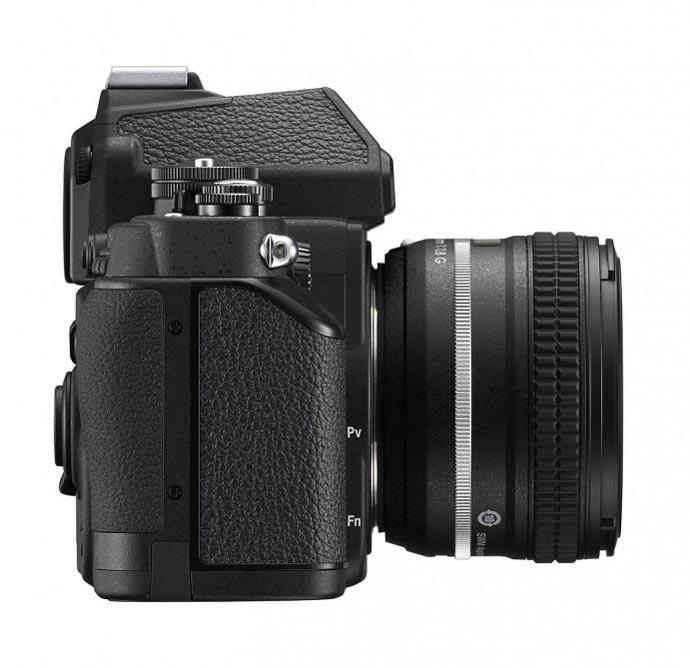 Side view of a black Nikon Df