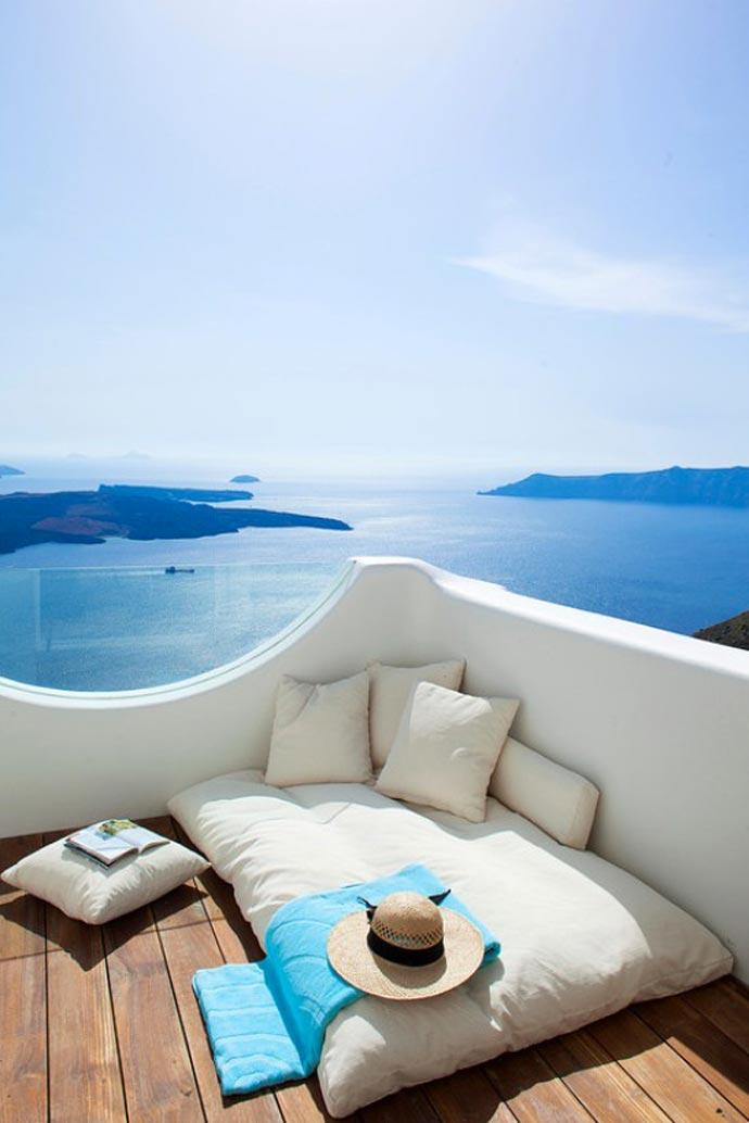 View from Native Eco Villa in Santorini Greece