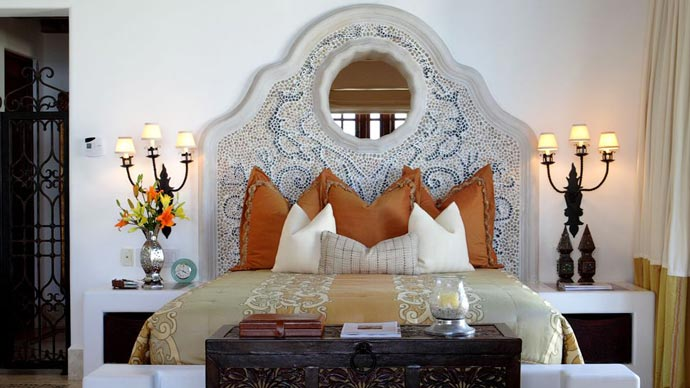 King size bed at Las Ventanas Rosewood resort in Los Cabos Mexico