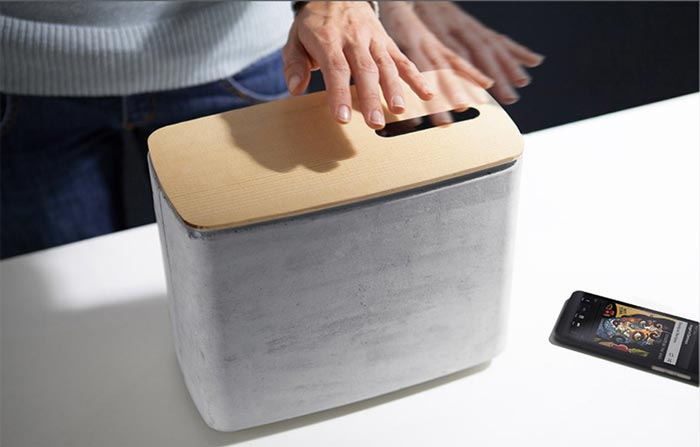 Gesture Controlled Concrete Speakers