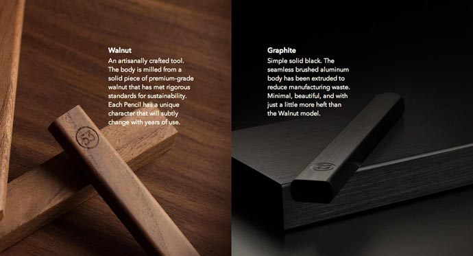 Specifications of the brown and black pencil stylus