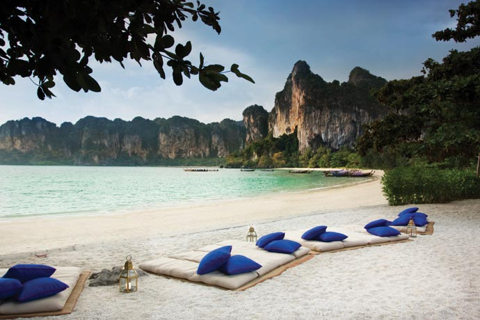 Lounge chairs at the beach at Rayavadee Resort in Thailand