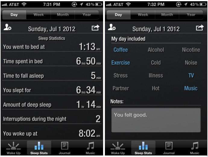 Mobile application of the Renew SleepClock Sleep Monitor by GEAR4